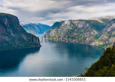 Aurlandsfjord view from the top of Stegastein viewpoint in Norway fjords #1543308851