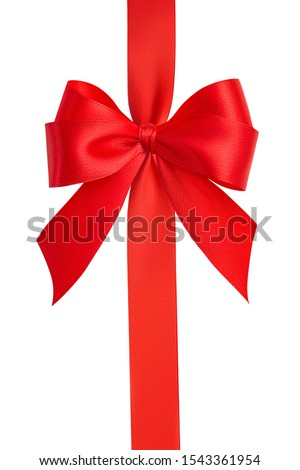 Top view of a beautiful large fashionable ornate red bow and bright red silk vertical ribbon isolated on white background. Gift wrapping concept. Close up, clipping path #1543361954