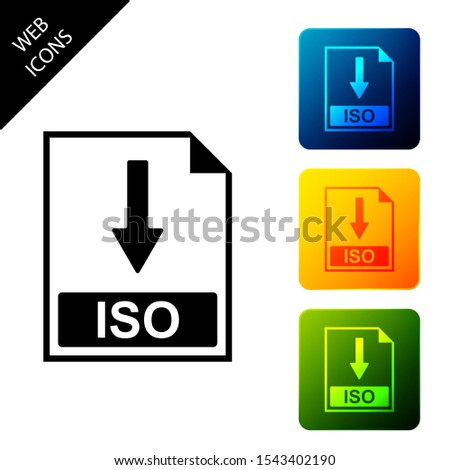ISO file document icon. Download ISO button icon isolated. Set icons colorful square buttons