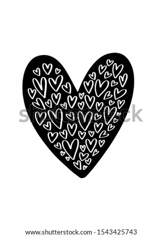 Hand drawn black white heart clipart set.  Monochrome iron on print design with various size hearts.  #1543425743