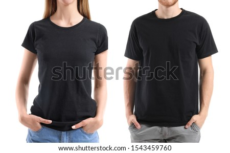 Young people in stylish t-shirts on white background Royalty-Free Stock Photo #1543459760