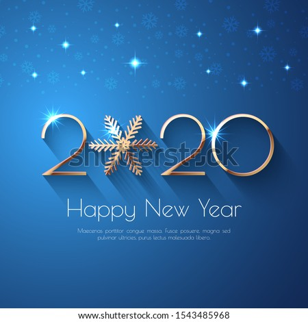 Happy New Year 2020 Blue Greeting Background. Vector illustration with golden numbers and snowflakes, lights #1543485968