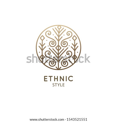 Flower plants logo template. Vector abstract emblem floral tree. Pattern decorative icon in circle. Minimal badge for design of natural product, flower shop, cosmetics and ecology concept, health, spa #1543521551