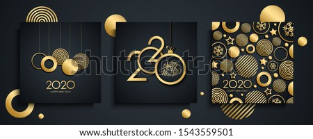 2020 Happy New Year luxury greeting cards set. New Year holiday invitations templates collection with hand drawn lettering and gold christmas balls. Vector illustration. #1543559501