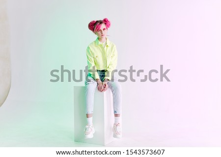 young woman looking at the camera model isolated background