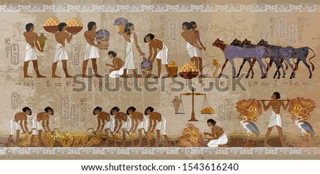 Life in ancient Egypt, frescoes. Egyptians history art. Agriculture, workmanship, fishery, farm. Hieroglyphic carvings on exterior walls of an old temple #1543616240