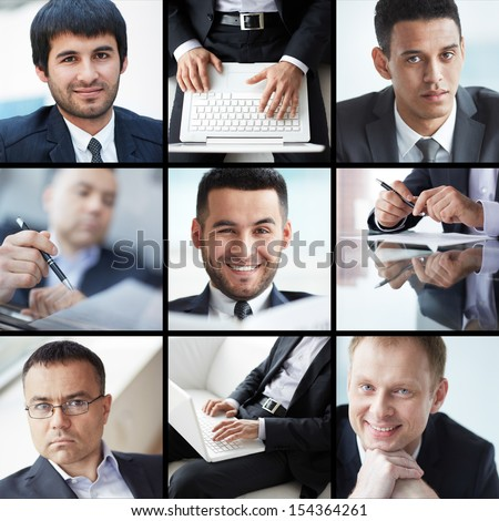 Collage of different confident businessmen #154364261