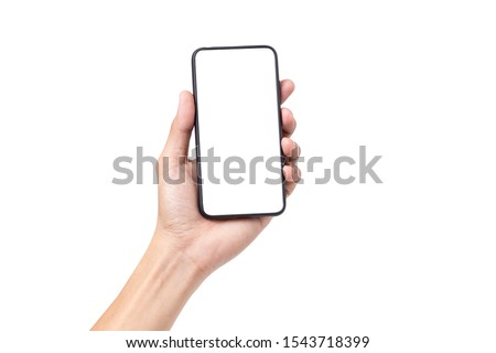 Hand man holding mobile smartphone with blank screen isolated on white background with clipping path #1543718399
