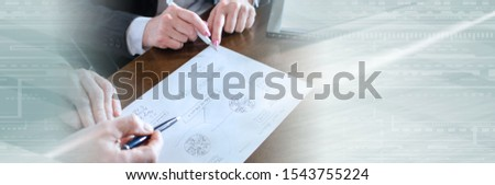 Business people working on a business plan; panoramic banner #1543755224