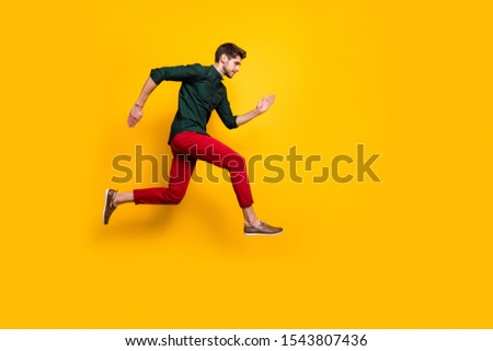 Full length body size profile side photo of serious confident man aspiring forward to win contests of running jumping isolated bright color background #1543807436