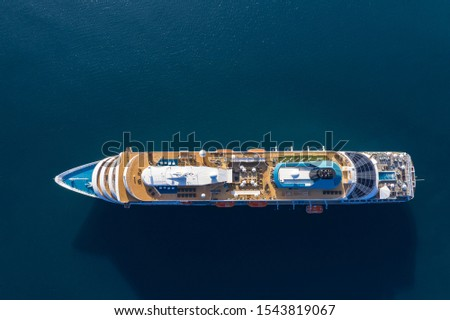 View of drone to the passenger ship in sea #1543819067