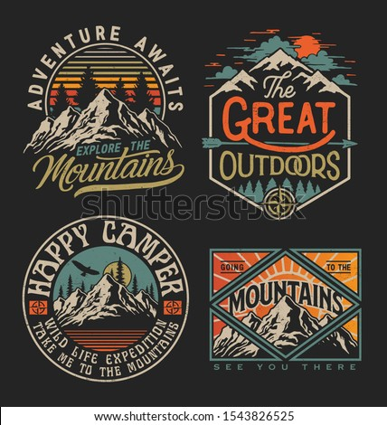 Collection of vintage explorer, wilderness, adventure, camping emblem graphics  Royalty-Free Stock Photo #1543826525