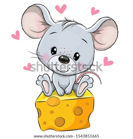 Cute Cartoon Mouse is sitting on a cheese on a white background Royalty-Free Stock Photo #1543851665