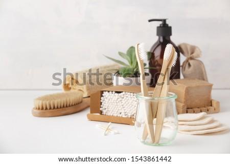 Zero waste concept. Eco-friendly bathroom accessories Royalty-Free Stock Photo #1543861442