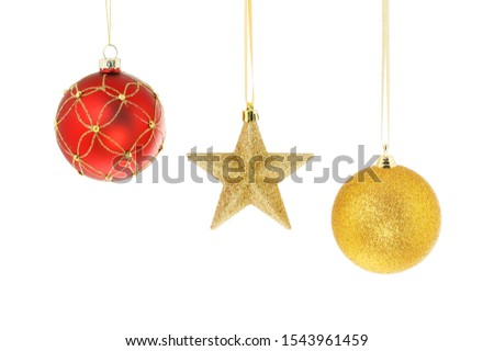 Gold star and baubles Christmas decorations isolated against white #1543961459