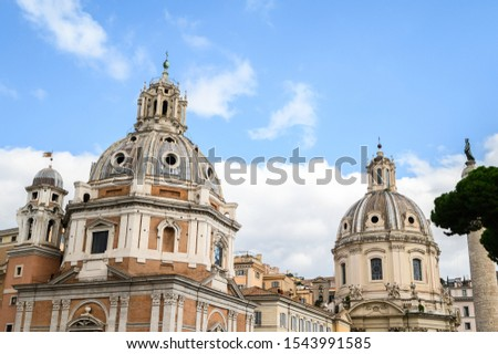 Churches of Santa Maria di Loreto and Santissimo Nome di Maria (Mary) in piazza di Venezia (square of Venice) from the Victor Emmanuel II monument. 28.10.2019 Rome, Italy. #1543991585