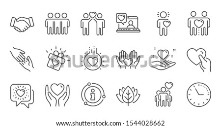Friendship and love line icons. Interaction, Mutual understanding and assistance business. Trust handshake, social responsibility icons. Linear set. Quality line set. Vector #1544028662