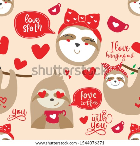 Cute sloths seamless pattern for valentines day. Vector background for print on textile or paper.