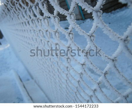 Grid on the fence in the snow. The metal net is covered with the first snow in winter.