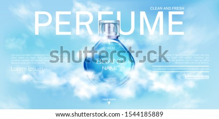 Perfume spray bottle in cloudy sky landing page mock up banner. Glass flask mockup on blue heaven background with clouds. Scent fragrance cosmetic product, promo ad Realistic 3d vector illustration #1544185889