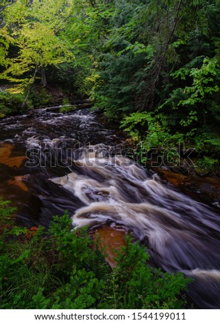 The Hurricane River rapids speed water towards Lake Superior just a few hundred feet downstream, Pictured Rocks National Lakeshore, Alger County, Michigan
