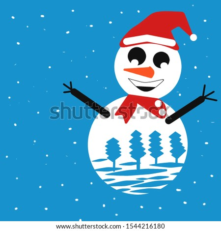 Snowman with Santa hat in winter with snow, please convert it to the file you like because we only provide it in JPG format