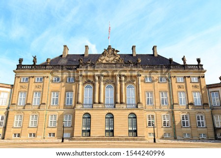 Copenhagen, Denmark. The Royal Palace Amalienborg is an architectural complex of the Rococo style in Copenhagen, built during the reign of the Danish King Frederick V (1746-1766)