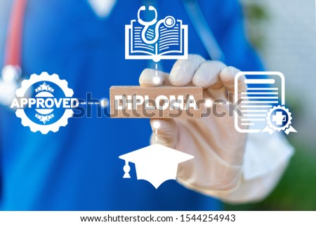 Diploma Certificate Medical Document Concept. #1544254943