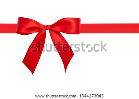 Flat lay beautiful big simple perfect red bow and bright red silk horizontal ribbon with copy space for text isolated on white background. Close up design element. #1544273045