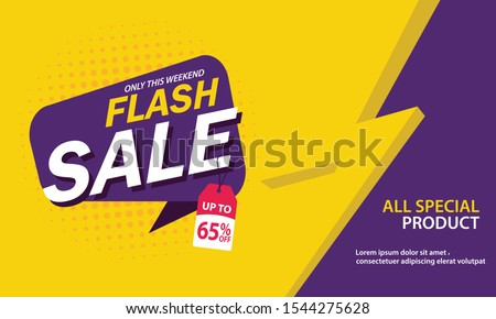 Only Weekend Special Flash Sale banner. Flash Sale discount up to 65% off. Vector illustration. - Vector #1544275628