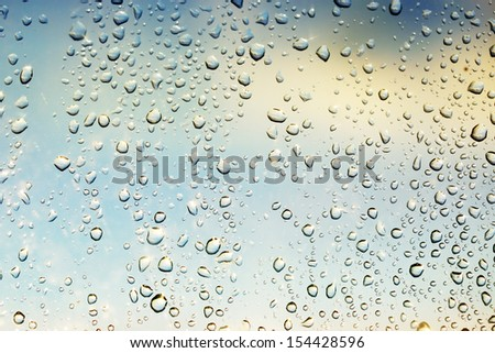 Rain drops on the glass during