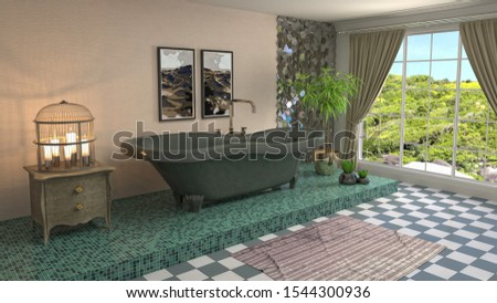 Bathroom interior. 3D illustration. Bath. #1544300936