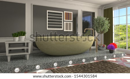 Bathroom interior. 3D illustration. Bath. #1544301584