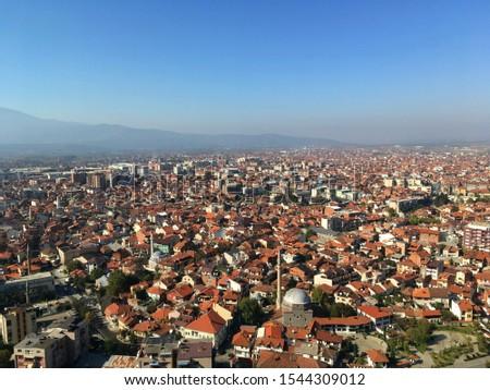 Aerial view over Prizren, Kosovo #1544309012