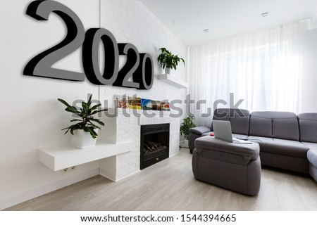 image of 2020 wooden shelf on white brick wall. sofa set on the wooden floor. background for new year festival