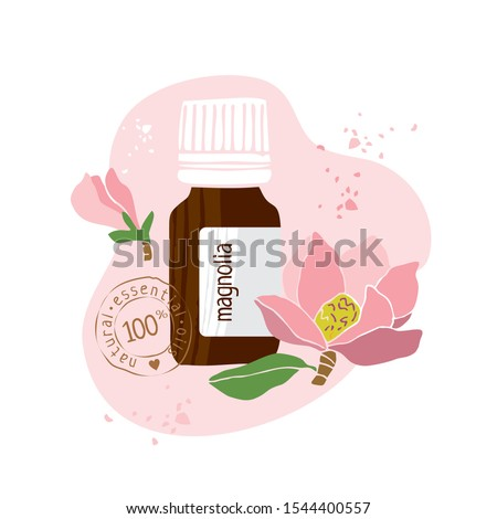 Bottle with magnolia essential oil drawn by hand on a white background. Aromatherapy, cosmetics, folk and alternative medicine. Stamp on bottle natural essential oil. Cute cartoon Vector illustration #1544400557