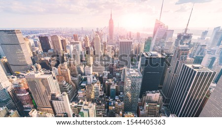 New york city skyline in the evening. #1544405363