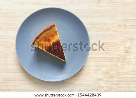 Abstract photo of top view of french custard pie with sliced fresh peach flesh (Parisian Flan) is delicious simple custard tart recipe which is sweet creamy vanilla custard pie as classic dessert #1544428439