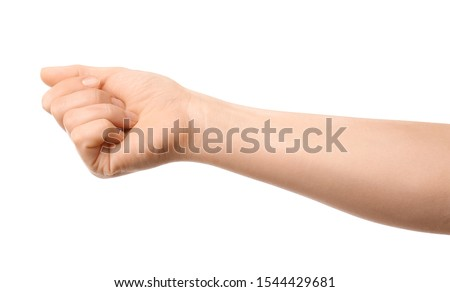 Hand of woman on white background #1544429681
