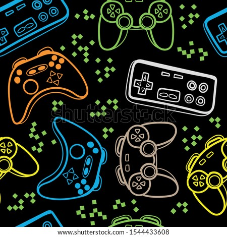 Seamless bright pattern with joysticks. gaming cool print for boys and girls. Suitable for textiles, sportswear, web  Royalty-Free Stock Photo #1544433608