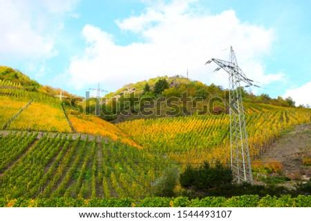 Mosel valley in autumn 2019 near Müden river lock #1544493107