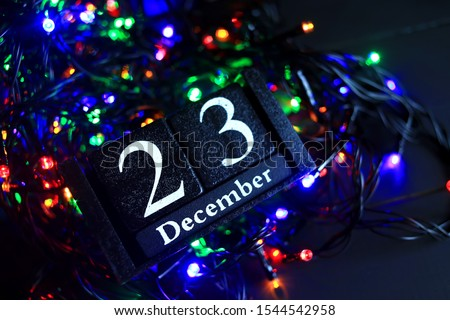 December 23, December twenty third. New year composition. Holiday concept New Year greeting card. #1544542958