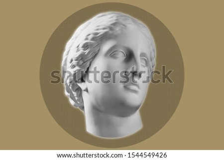 Contemporary art concept collage with antique statue head in a surreal style. Modern unusual art. #1544549426