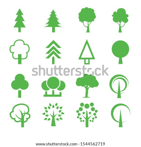 Pictogram style. Flat vector trees set. Tree icons set in a modern flat style. #1544562719