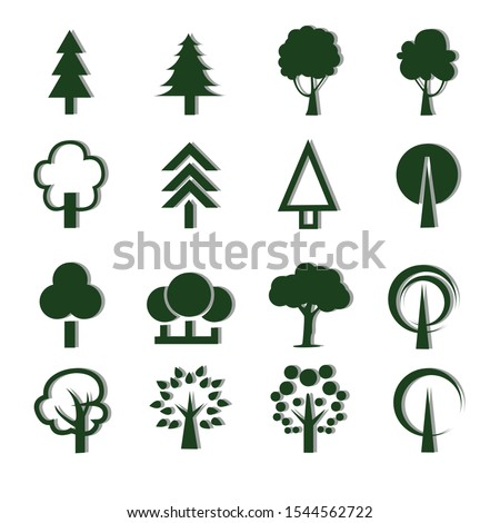 Pictogram style. Flat vector trees set. Tree icons set in a modern flat style. #1544562722