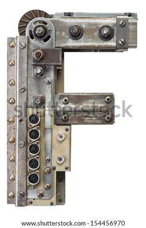 Industrial metal alphabet letter F