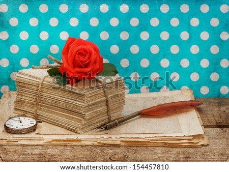 old love letters and postcards with pink rose flower isolated on white background. Nostalgic sentimental still life. Retro style designed picture #154457810