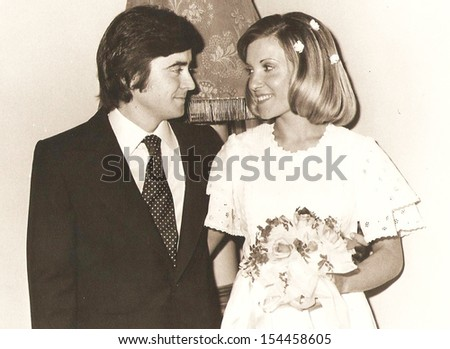 spain, CIRCA  - Groom and bride, official photos - circa 1975