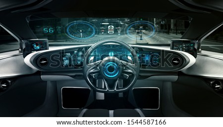 Close up shot of futuristic car dashboard screen with augmented reality holograms.