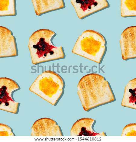 Creative seamless pattern or set of toasted bread with tasty different jam on light blue color background in pop-art style.Modern minimal food photography collage.Morning breakfast brunch concept #1544610812